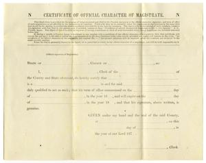 Primary view of object titled 'Certificate of Official Character of Magistrate'.