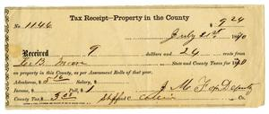 Primary view of object titled '[Receipt for Ziza Moore from J. M. Fox, July 21, 1870]'.
