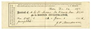 Primary view of [Receipt for Charles B. Moore from the Boston Investigator, December 24, 1873]