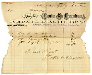 Primary view of object titled '[Receipt for Charles B. Moore from Foote and Herndon Retail Druggists, February 17, 1876]'.