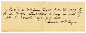 Primary view of object titled '[Receipt for Charles B. Moore from Smith and Wiley, November 30, 1879]'.