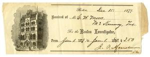 Primary view of object titled '[Receipt for Charles B. Moore from the Boston Investigator, December 15, 1879]'.