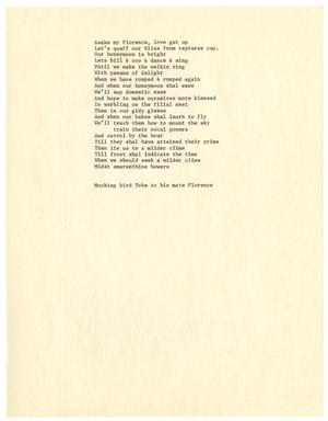 Primary view of object titled '[Poem written by Mocking bird Tobe to his mate Florence]'.