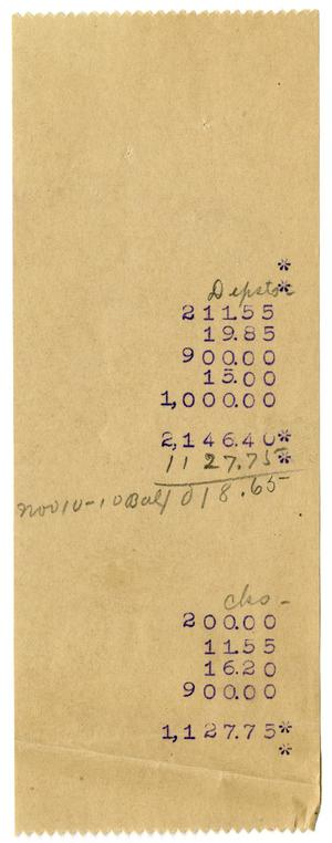 Primary view of object titled '[Account statement, November 10, 1910]'.