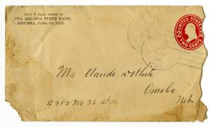 Primary view of [Envelope for Claude D. White from the Melissa State Bank, March 14, 1911]