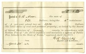 Primary view of object titled '[County Tax Receipt for C. B. Moore from G. R. Yautis, April 20, 1872]'.