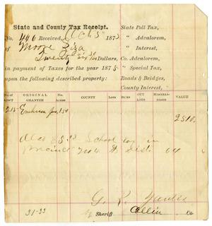 Primary view of object titled '[State and County Tax Receipt for Ziza Moore from G. R. Yautis, October 5, 1875]'.