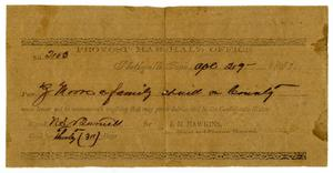 Primary view of object titled '[Provost Marshal's Office Pass for Ziza Moore, April 29, 1863]'.
