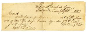 Primary view of object titled '[Military Pass for Ziza Moore, August 1, 1863]'.