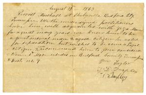 Primary view of object titled '[Letter of Recommendation to Provost Marshall for Ziza Moore, August 12, 1863]'.