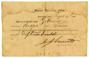 Primary view of [Certificate of Allegiance for Ziza Moore, August 14, 1863]