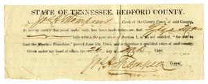 Primary view of [Certificate of right to vote in Bedford County for Ziza Moore, March 26, 1866]