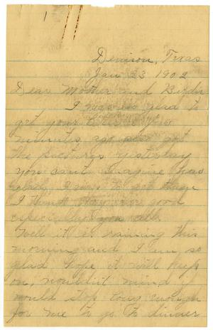 Primary view of [Letter from Linnet Moore to Mary Ann Moore and Birdie McGee, January 23, 1902]