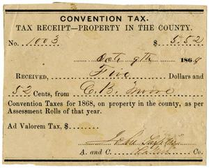 Primary view of object titled '[Convention tax, 1868]'.