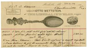 Primary view of object titled '[Receipr from Otto Wettstein, January 30, 1899]'.