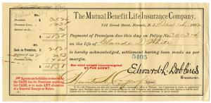 Primary view of object titled '[Receipt for Life Insurance, December 1, 1902]'.