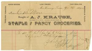 Primary view of [Receipt from A. J. Krause Grocers]