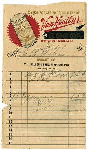 Primary view of [Receipt from T. J. Melton and Sons, July 1, 1895]
