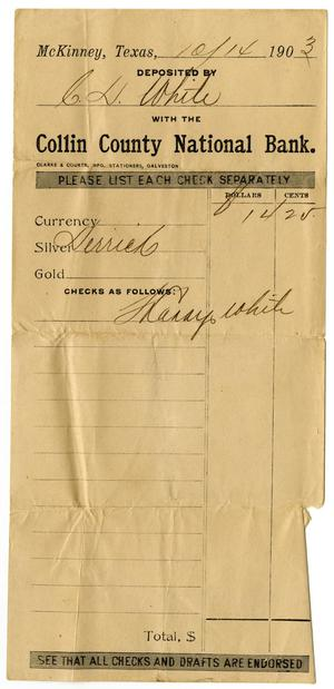 Primary view of object titled '[Deposit slip,  October 14, 1903]'.