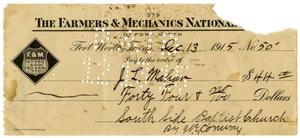 Primary view of object titled '[Check made out to the Southside Baptist Church, December 13, 1915]'.