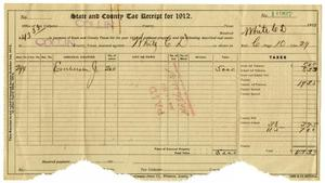 Primary view of object titled '[Receipt for taxes paid, 1912]'.