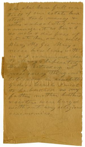 Primary view of [Draft of Will, September 30, 1901]
