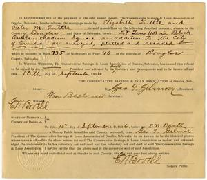 Primary view of object titled '[Release of Mortgage, September 10, 1906]'.