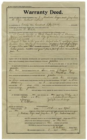 Primary view of object titled '[Warranty Deed, April 23, 1910]'.
