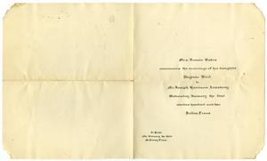 Primary view of object titled '[Wedding announcement for Virginia Bird and Joseph Harrison Armstrong, January 1, 1902]'.