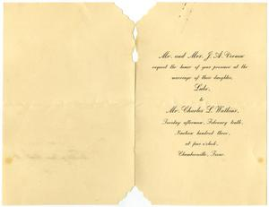 Primary view of object titled '[Wedding announcement for Lula Vernon and Charles L. Watkins, February 10, 1903]'.