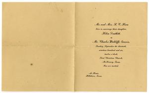Primary view of object titled '[Wedding announcement for Helen Douthitt Horn and Charles Wickliffe Graves, September 30, 1906]'.