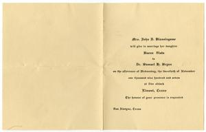 Primary view of [Wedding announcement for Buena Vista Blassingame and Samuel G. Bryan, November 20, 1907]