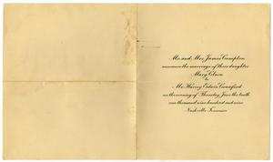 Primary view of object titled '[Wedding announcement for Mary Clara Compton and Harvey Edwin Crawford, June 10, 1909]'.