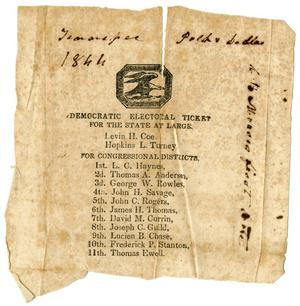 Primary view of [Electoral ticket, 1820]