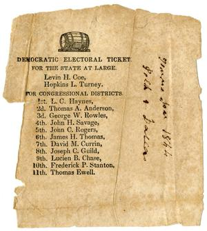 Primary view of [Democratic Electoral Ticket in Tennessee, 1844]