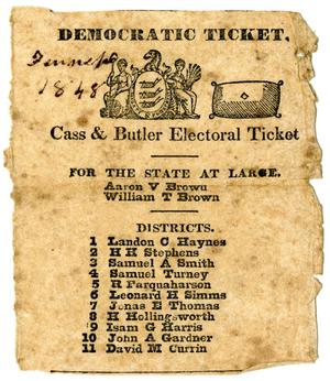 Primary view of [Democratic ticket, 1848]