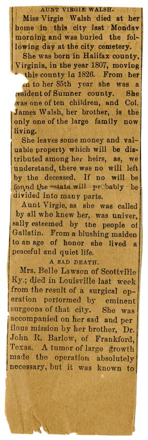 Primary view of [Obituary for Aunt Virgie Walsh]
