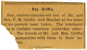 Primary view of object titled '[Obituary for Roy Griffin]'.