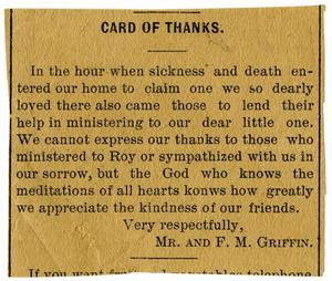 Primary view of object titled '[Card of thanks]'.