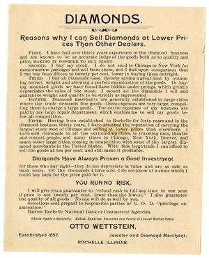 Primary view of object titled '[Flyer Advertising Diamonds]'.