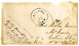 Primary view of [Envelope addressed by Mrs. Mollie Moore]