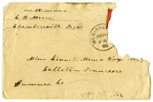 Primary view of object titled '[Envelope from C. B. Moore to Linnet Moore, June, 1901]'.