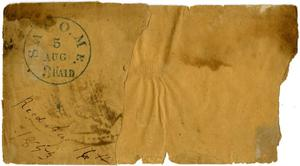 Primary view of object titled '[Envelope Fragment, August 5, 1853]'.