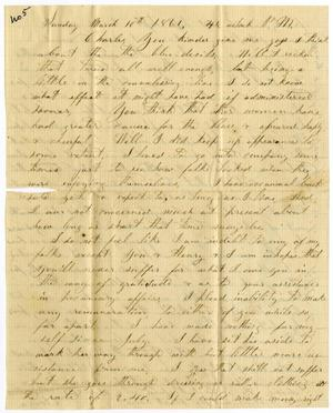 Primary view of object titled '[Letter from Elvira Moore to Charles B. Moore, March 10, 1861]'.