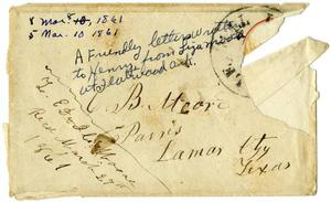 Primary view of object titled '[Envelope from Liza Moore to Charles B. Moore, March 1861]'.