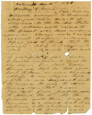 Primary view of [Letter from Charles B. Moore to Josephus C. Moore, May 14, 1861]