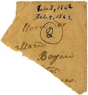 Primary view of object titled '[Envelope Fragment, February 1862]'.