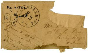 Primary view of [Envelope from Elvira D. Moore and Lucinda Wallace to Mr. Jo or Charles B. Moore, March 9,1862]