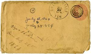 Primary view of object titled '[Envelope from Ziza Moore and Josephus Moore addressed to Charles Moore, July 19, 1864]'.
