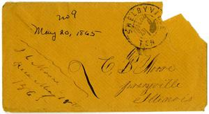 Primary view of [Envelope from Josephus Moore addressed to Charles Moore, May 13, 1865]